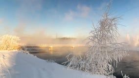 Zima krajobraz z rzeką i tamą, Rosja, Ural Obraz Stock