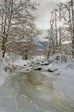 Zima krajobraz z rzeką zakrywającą z lodem w chmurnym dniu Obraz Royalty Free