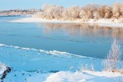 Zima krajobraz z rzeką Obrazy Royalty Free