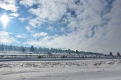 Zima krajobraz z słońcem Fotografia Stock