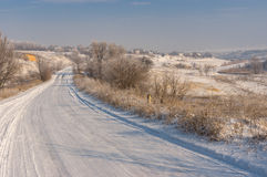 Zima krajobraz z wiejską drogą Obraz Royalty Free