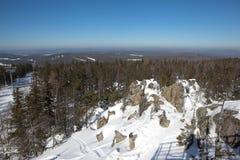 Zima krajobraz z wierzchu góra bielu Nizhny Tagil Rosja Zdjęcie Royalty Free