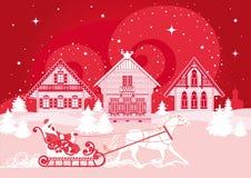 Zima krajobraz z wioską, koniem i kobiety jazdą, Zdjęcie Stock