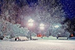 Zima krajobraz - zima wieczór w śnieżnym parku z ławkami pod zima opadem śniegu Obrazy Royalty Free