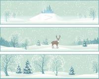 Zima Krajobrazowi Wektorowi sztandary Zdjęcie Royalty Free
