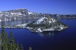 zima krateru jeziora. Obraz Stock