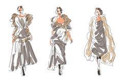 Zima Kreślił moda modelów ilustracja wektor