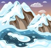 Zima Kształtuje teren góry Isometric tło ilustracja wektor