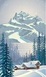 Zima las z drzewami Obrazy Royalty Free