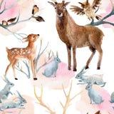 Zima lasowy bezszwowy wzór Zdjęcia Stock