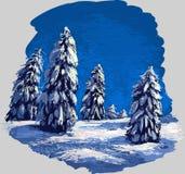 zima leśna royalty ilustracja