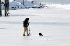 Zima lodowy połów Fotografia Stock