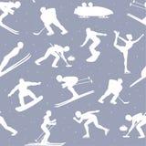 Zima Lodowych Śnieżnych sportów Bezszwowy Deseniowy tło royalty ilustracja