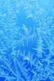 Zima lodu mróz, marznący tło frosted nadokiennego szkła textur Fotografia Royalty Free