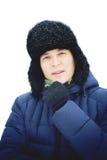 Zima młodego człowieka portret Zdjęcia Royalty Free