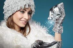 zima magiczna kobieta fotografia royalty free