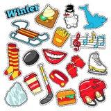 Zima majchery, odznaki, łaty dekoracja Ustawiająca z bałwanem, hokej i sanie, Zdjęcia Stock