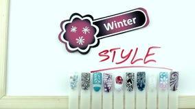 Zima manicure'u stylu andsnow majcher zbiory wideo