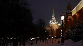 Zima moscow ludzie chodzi w Aleksander ogródzie zbiory