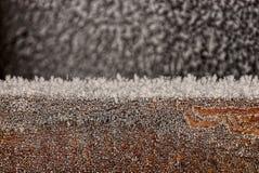 Zima mróz na czarnym przedmiocie Fotografia Stock
