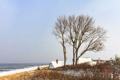 Zima na morza bałtyckiego wybrzeżu w Ahrenshoop, Niemcy Obrazy Stock