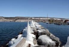 Zima na Seneca jeziorze od rockowego mola obraz stock