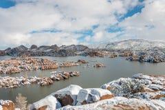 Zima śnieg przy Scenicznym Watson jeziorem Fotografia Royalty Free