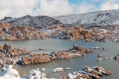 Zima śnieg przy Scenicznym Watson Jeziornym prescottem Arizona Zdjęcie Stock