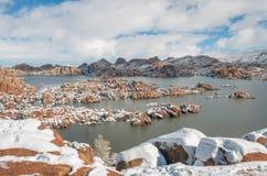 Zima śnieg przy Scenicznym Watson Jeziornym prescottem Arizona Fotografia Royalty Free