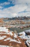 Zima śnieg przy Watson Jeziornym prescottem Arizona Zdjęcia Royalty Free