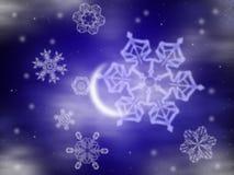 zima noc ilustracji