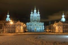 Zima noc iluminujący widok Petersburg. Zdjęcia Royalty Free