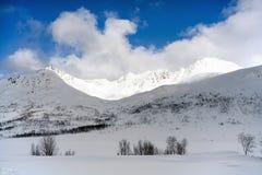 Zima norwegu krajobraz: śnieżne góry Zdjęcia Stock
