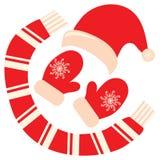 Zima odziewa Santa dział nakrętkę nakrętka dziająca Bożenarodzeniowe mitynki szalik ikona Wektorowa ilustracja na bielu Zdjęcia Stock