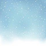 Zima opadu śniegu błękita tło Obraz Stock