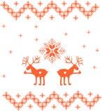 Zima ornament z rogaczem i płatkami śniegu Zdjęcie Stock