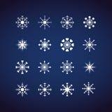 Zima płatki śniegu, Płaski projekt, ikona, s Fotografia Royalty Free