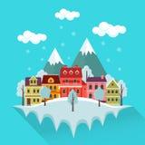 Zima pejzaż miejski z górami Zdjęcie Stock