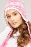 zima piękna kapeluszowa kobieta Obrazy Royalty Free