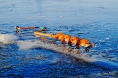 Zima połów na morzu jaskrawy słońce Zdjęcia Stock
