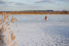 Zima połów na lodzie Fotografia Stock