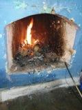 Zima pokoju ogień fotografia royalty free