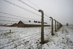 zima polland auschwitz - birkenau zdjęcia stock