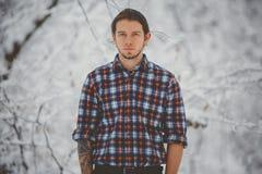 Zima portret mężczyzna fotografia royalty free
