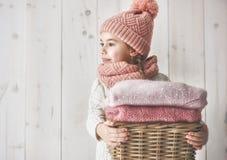 Zima portret mała dziewczynka Zdjęcia Royalty Free