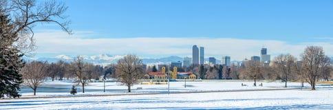 Zima przy Denwerskim miasto parkiem Zdjęcia Royalty Free