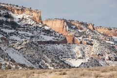 Zima przy Kolorado Krajowym zabytkiem fotografia royalty free