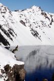 Zima przy Krater jeziora park narodowy Zdjęcia Stock