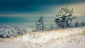 Zima przy Ogosta rezerwuarem zdjęcia stock