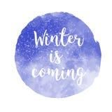 Zima przychodzi Bożenarodzeniowy akwareli tło z tekstem Fotografia Stock